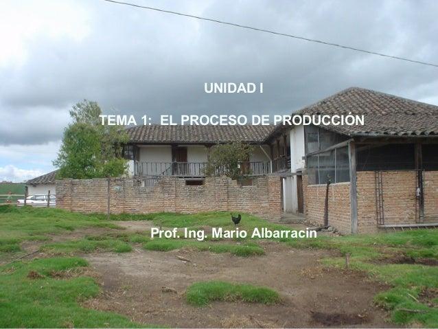 UNIDAD ITEMA 1: EL PROCESO DE PRODUCCIÓN      Prof. Ing. Mario Albarracin
