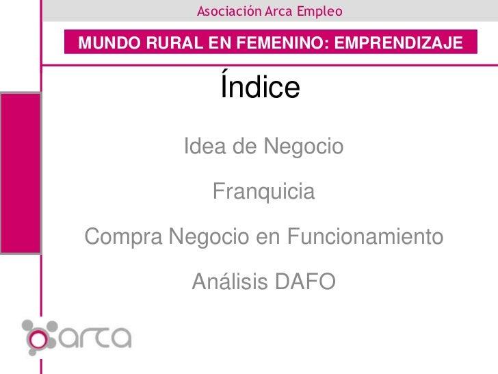 Índice<br />Idea de Negocio<br />Franquicia<br />Compra Negocio en Funcionamiento<br />Análisis DAFO<br />