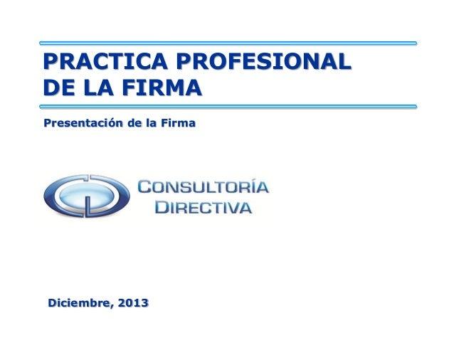 PRACTICA PROFESIONAL DE LA FIRMA Presentación de la Firma  Diciembre, 2013