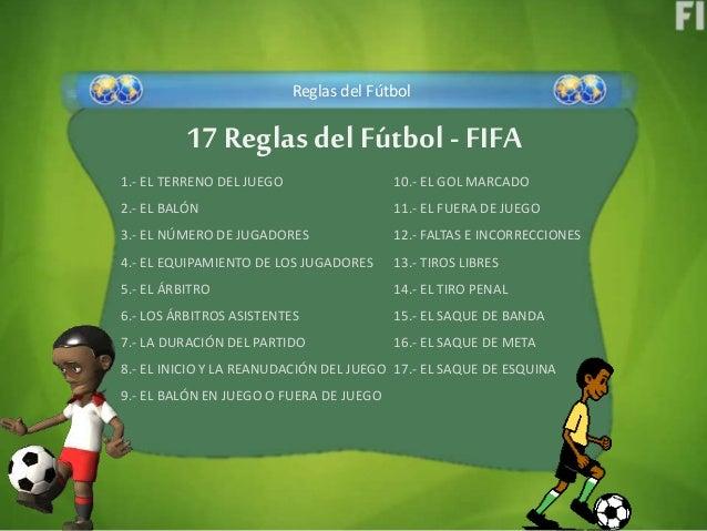 F tbol y sus variaciones reglamento fifa regla 8 9 11 y 12 for 10 reglas del futbol de salon