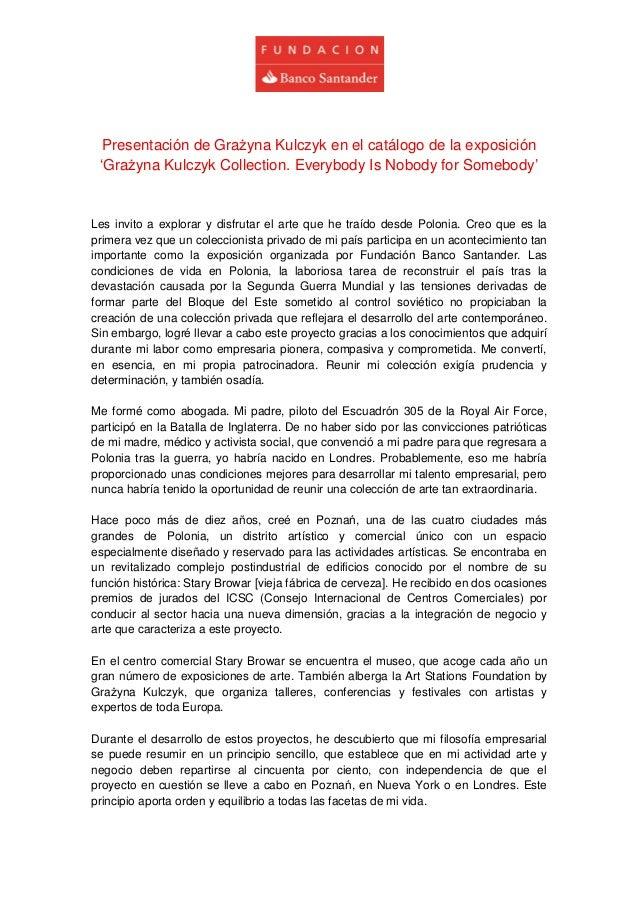 Presentación de Grażyna Kulczyk en el catálogo de la exposición 'Grażyna Kulczyk Collection. Everybody Is Nobody for Somebody'