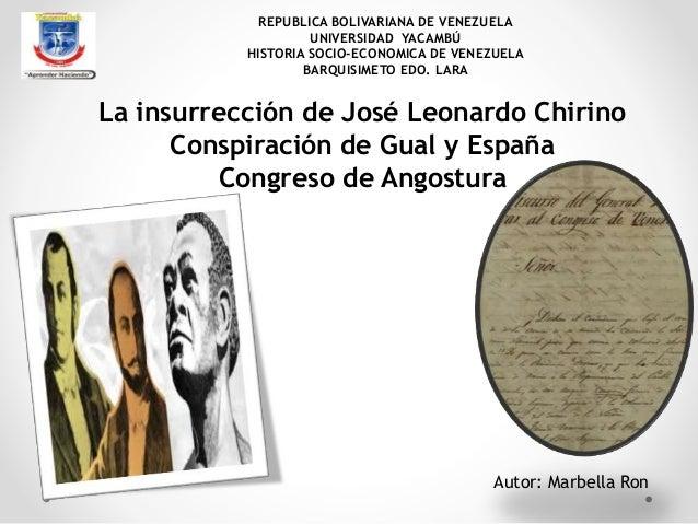REPUBLICA BOLIVARIANA DE VENEZUELA UNIVERSIDAD YACAMBÚ HISTORIA SOCIO-ECONOMICA DE VENEZUELA BARQUISIMETO EDO. LARA  La in...