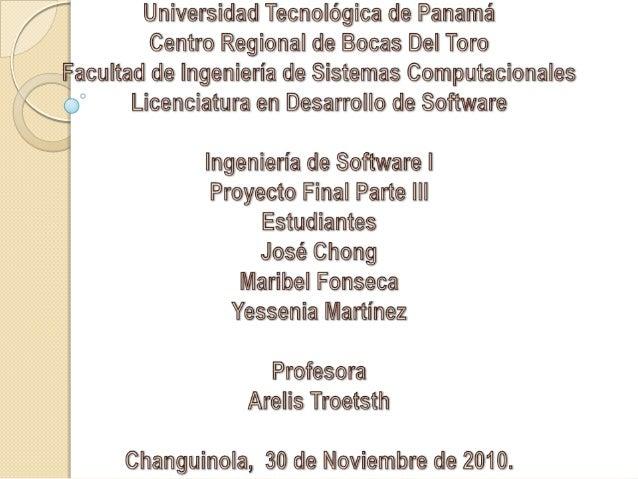 Ingeniería de Software I - Proyecto Final Parte III
