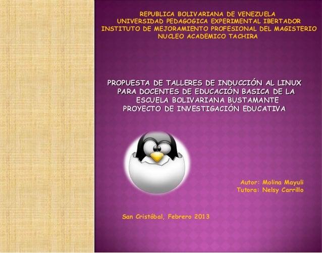 REPUBLICA BOLIVARIANA DE VENEZUELA    UNIVERSIDAD PEDAGOGICA EXPERIMENTAL IBERTADORINSTITUTO DE MEJORAMIENTO PROFESIONAL D...