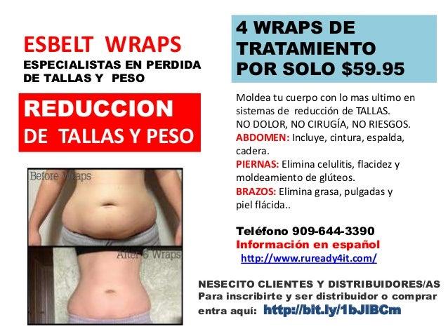 ESBELT WRAPS  ESPECIALISTAS EN PERDIDA DE TALLAS Y PESO  REDUCCION DE TALLAS Y PESO  4 WRAPS DE TRATAMIENTO POR SOLO $59.9...