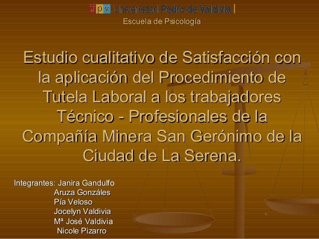 Escuela de PsicologíaEscuela de Psicología Estudio cualitativo de Satisfacción conEstudio cualitativo de Satisfacción con ...