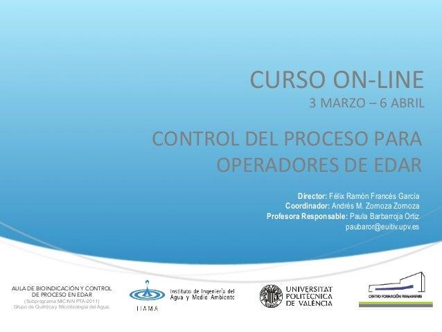 CURSO  ON-‐LINE   3  MARZO  –  6  ABRIL    CONTROL  DEL  PROCESO  PARA   OPERADORES  DE  EDAR ...