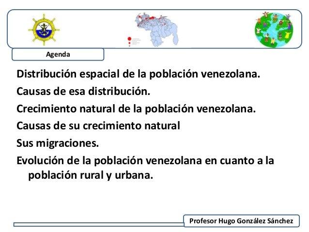 Distribución espacial de la población venezolana.  Causas de esa distribución.  Crecimiento natural de la población venezo...