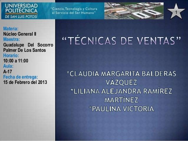 1Materia:Núcleo General IIMaestra:Guadalupe Del SocorroPalmer De Los SantosHorario:10:00 a 11:00Aula:A-17Fecha de entrega:...