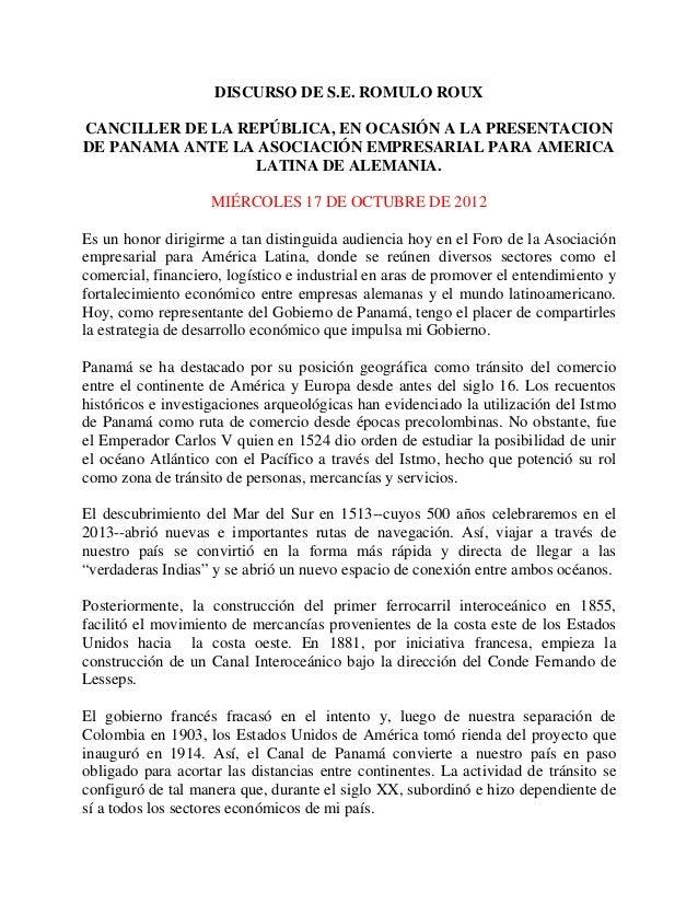 Presentación de panamá ante la asociación empresarial para américa latina de alemania