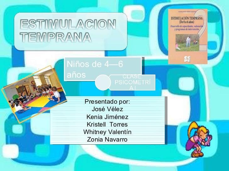 Niños de 4—6 años Presentado por: José Vélez Kenia Jiménez Kristell  Torres Whitney Valentín Zonia Navarro