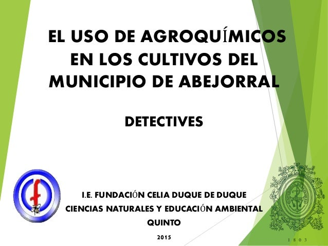 EL USO DE AGROQUÍMICOS EN LOS CULTIVOS DEL MUNICIPIO DE ABEJORRAL DETECTIVES I.E. FUNDACIÓN CELIA DUQUE DE DUQUE CIENCIAS ...