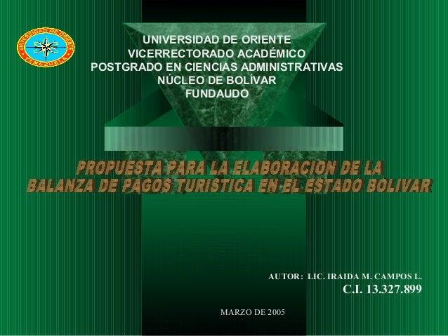 AUTOR: LIC. IRAIDA M. CAMPOS L. C.I. 13.327.899 MARZO DE 2005 UNIVERSIDAD DE ORIENTE VICERRECTORADO ACADÉMICO POSTGRADO EN...