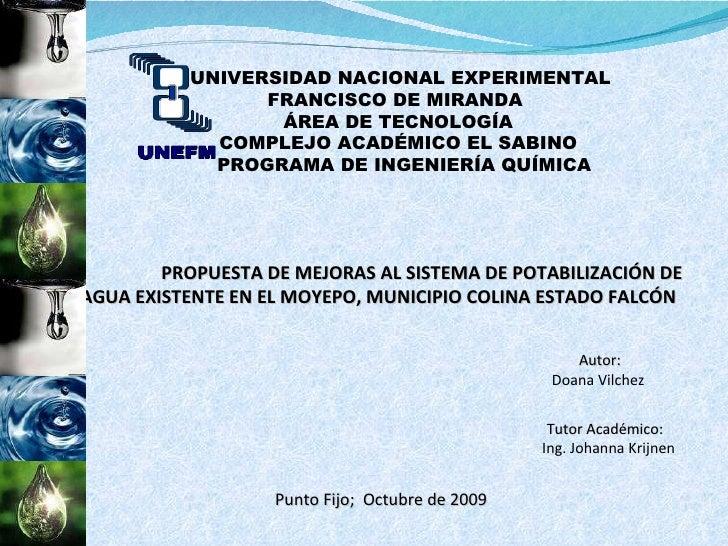 UNIVERSIDAD NACIONAL EXPERIMENTAL  FRANCISCO DE MIRANDA ÁREA DE TECNOLOGÍA COMPLEJO ACADÉMICO EL SABINO PROGRAMA DE INGENI...