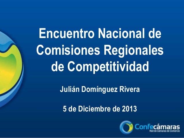 Encuentro Nacional de Comisiones Regionales de Competitividad Julián Domínguez Rivera 5 de Diciembre de 2013
