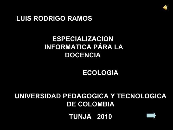 LUIS RODRIGO RAMOS  ESPECIALIZACION  INFORMATICA PÁRA LA DOCENCIA  UNIVERSIDAD PEDAGOGICA Y TECNOLOGICA DE COLOMBIA TUNJA ...