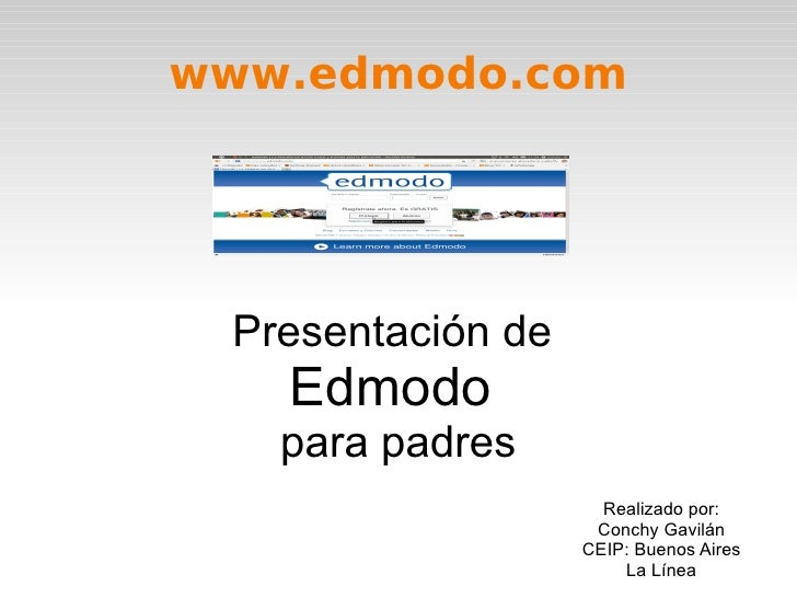 www.edmodo.com Presentación de  Edmodo  para padres Realizado por: Conchy Gavilán CEIP: Buenos Aires La Línea