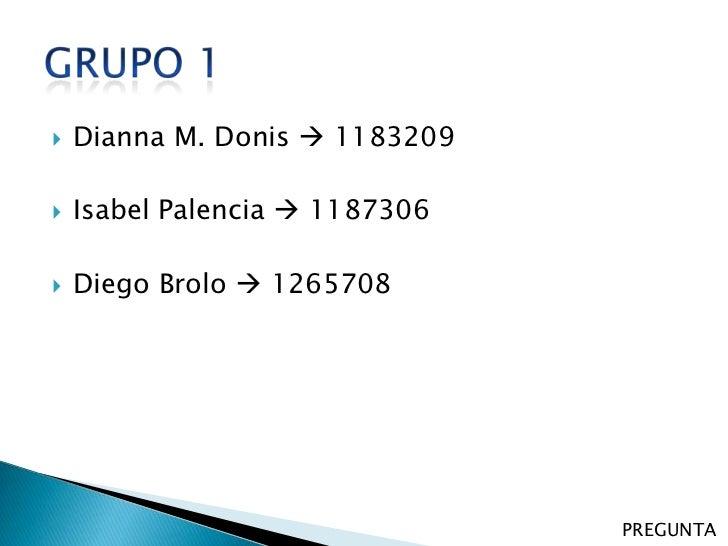    Dianna M. Donis  1183209   Isabel Palencia  1187306   Diego Brolo  1265708                                PREGUNTA