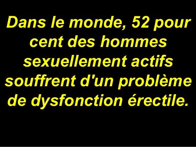 Dans le monde, 52 pour cent des hommes sexuellement actifs souffrent d'un problème de dysfonction érectile.