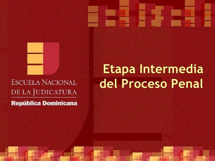 Etapa Intermedia del Proceso Penal