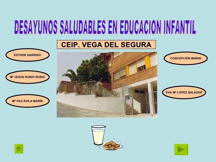 DESAYUNOS SALUDABLES EN EDUCACION INFANTIL CONCEPCIÓN MARIN EVA Mª LÓPEZ SALAZAR Mª JESÚS RUBIO RUBIO ESTHER GARRIDO Mª PA...