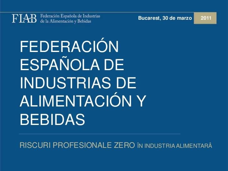 Presentación FIAB Sindalimenta 2011