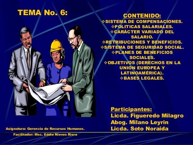 TEMA No. 6: CONTENIDO: SISTEMA DE COMPENSACIONES. POLITICAS SALARIALES. CARÁCTER VARIADO DEL SALARIO. RETRIBUCIONES Y ...