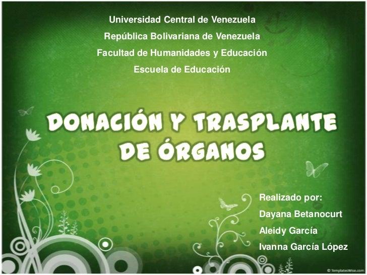 Universidad Central de Venezuela<br />República Bolivariana de Venezuela<br />Facultad de Humanidades y Educación<br />Esc...