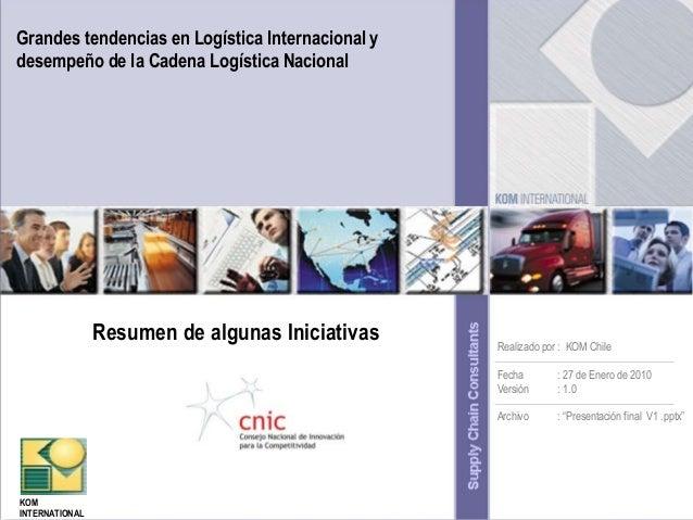 Grandes tendencias en Logística Internacional y desempeño de la Cadena Logística Nacional  Resumen de algunas Iniciativas ...