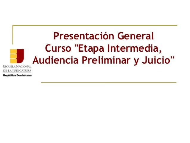 """Presentación General Curso""""Etapa Intermedia, Audiencia Preliminar y Juicio''"""
