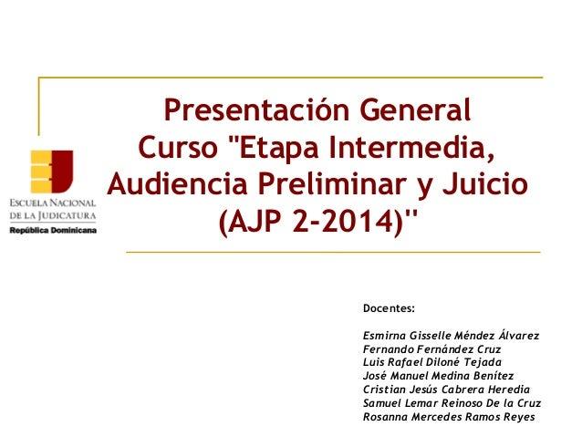 """Presentación General Curso""""Etapa Intermedia, Audiencia Preliminar y Juicio (AJP 2-2014)'' Docentes: Esmirna Gisselle Ménd..."""