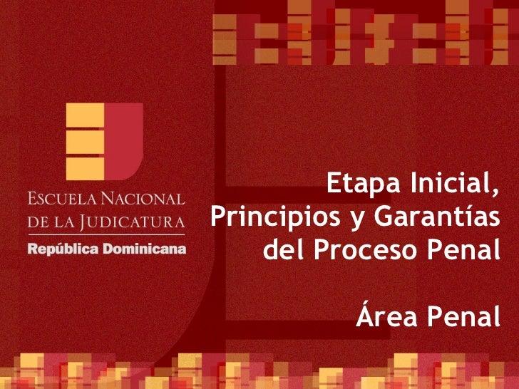 Etapa Inicial,Principios y Garantías    del Proceso Penal           Área Penal