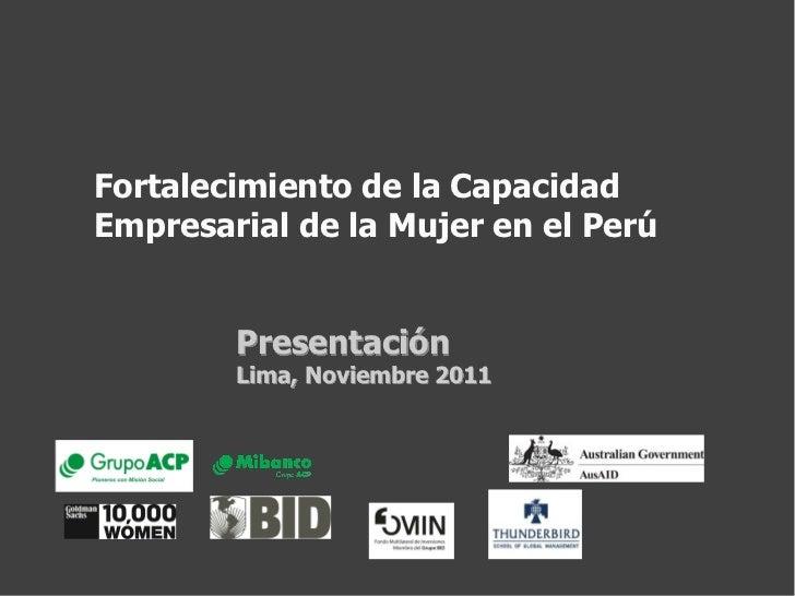Fortalecimiento de la Capacidad Empresarial de la Mujer en el Perú