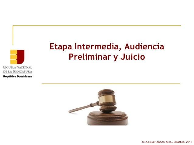 Etapa Intermedia, Audiencia    Preliminar y Juicio                     © Escuela Nacional de la Judicatura, 2013