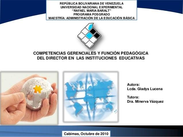 """REPÚBLICA BOLIVARIANA DE VENEZUELA UNIVERSIDAD NACIONAL EXPERIMENTAL """"RAFAEL MARIA BARALT"""" PROGRAMA POSGRADO MAESTRÍA: ADM..."""