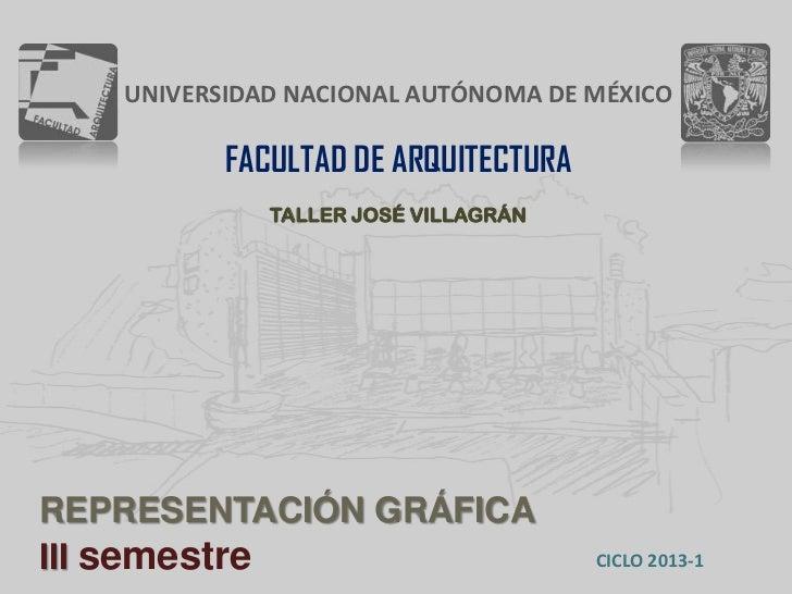 UNIVERSIDAD NACIONAL AUTÓNOMA DE MÉXICO          FACULTAD DE ARQUITECTURA             TALLER JOSÉ VILLAGRÁNREPRESENTACIÓN ...