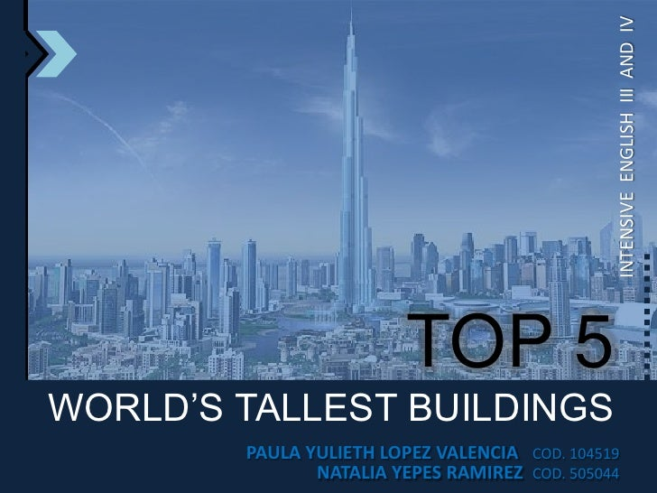 INTENSIVE  ENGLISH  III  AND  IV<br />TOP 5<br />WORLD'S TALLEST BUILDINGS<br />PAULA YULIETH LOPEZ VALENCIA   COD. 104519...