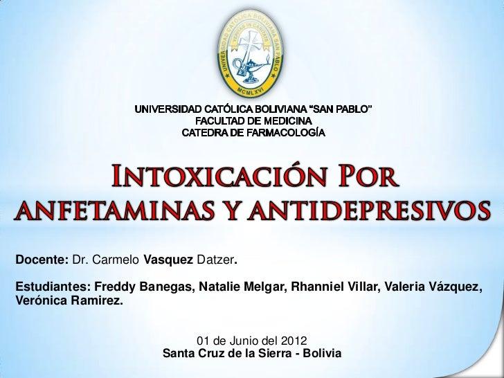 [Presentación] Intoxicación por Anfetaminas y antidepresivos