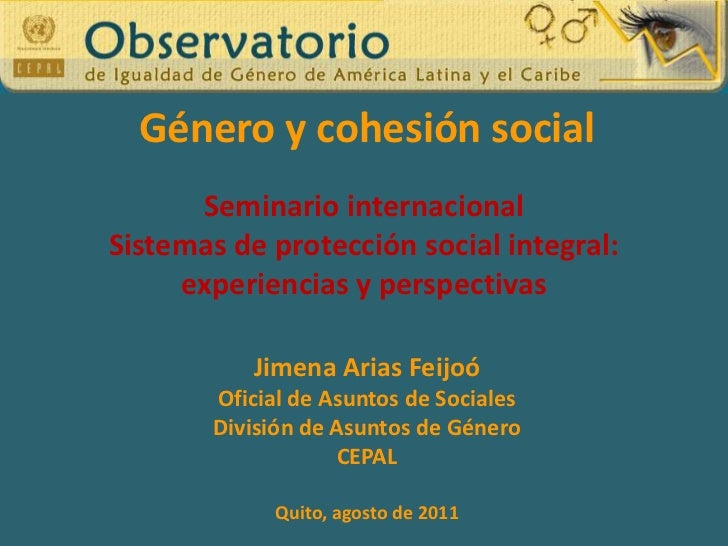 Género y cohesión social<br />Seminario internacional<br />Sistemas de protección social integral: <br />experiencias y pe...