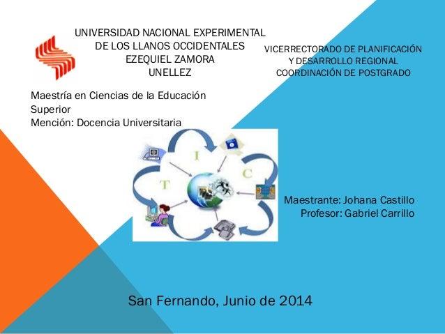 Maestrante: Johana Castillo Profesor: Gabriel Carrillo San Fernando, Junio de 2014 UNIVERSIDAD NACIONAL EXPERIMENTAL DE LO...