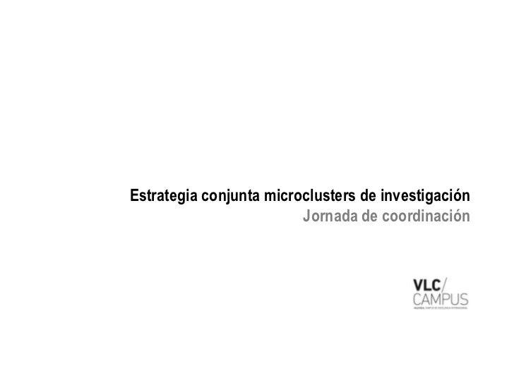 Estrategia conjunta microclusters de investigación                         Jornada de coordinación