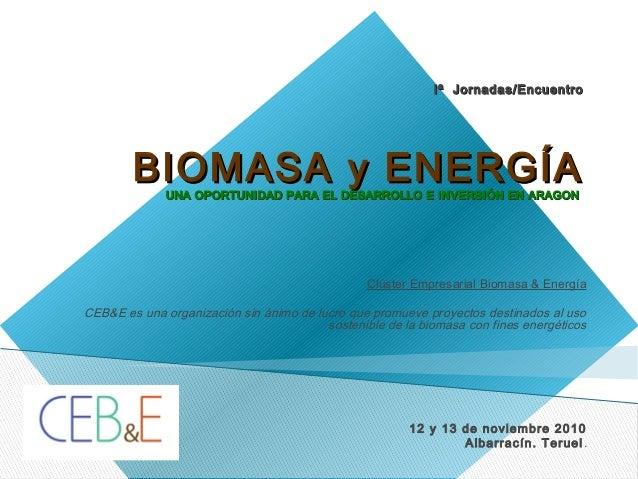 Iª Jornadas/EncuentroIª Jornadas/Encuentro BIOMASA y ENERGÍABIOMASA y ENERGÍAUNA OPORTUNIDAD PARA EL DESARROLLO E INVERSIÓ...