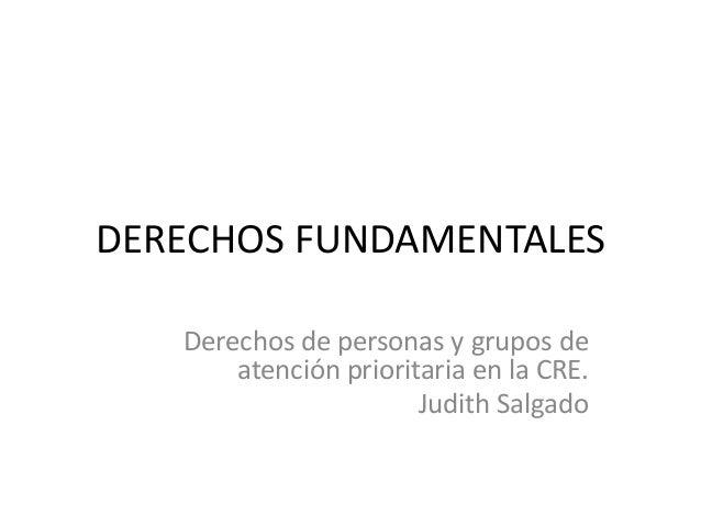 DERECHOS FUNDAMENTALES Derechos de personas y grupos de atención prioritaria en la CRE. Judith Salgado