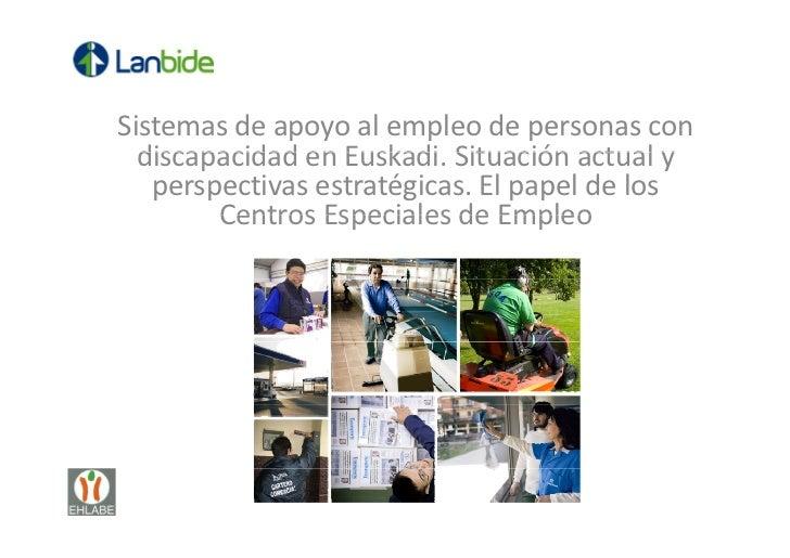 Sistemasdeapoyoalempleodepersonascon  discapacidadenEuskadi.Situaciónactualy  discapacidad en Euskadi Situac...