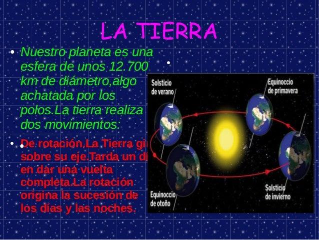 LA TIERRA●   Nuestro planeta es una    esfera de unos 12.700                                 ●    km de diámetro,algo    a...