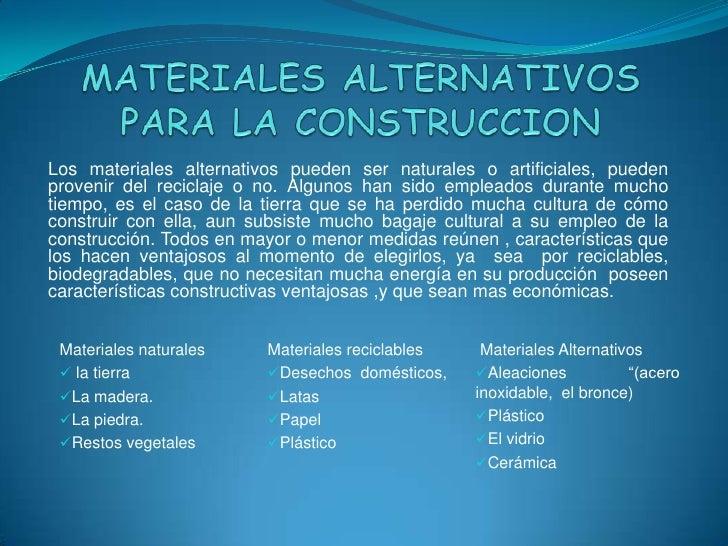 Materiales alternativos para la construccion - Materiales para la construccion ...