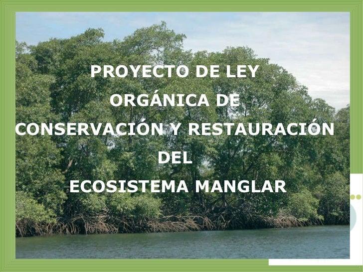 PROYECTO DE LEY  ORGÁNICA DE  CONSERVACIÓN Y RESTAURACIÓN  DEL  ECOSISTEMA MANGLAR