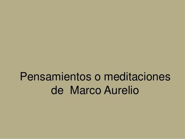 Pensamientos o meditaciones de Marco Aurelio