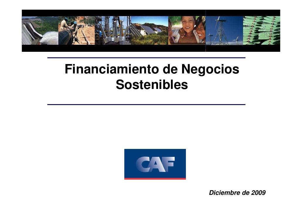 Financiamiento de Negocios         Sostenibles                          Diciembre de 2009