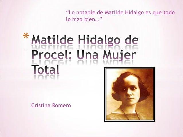 Matilde Hidalgo de Procel: Mujer ejemplar